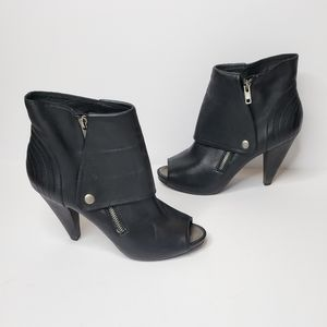 Joie peep toe leather snap zipper heeled booties